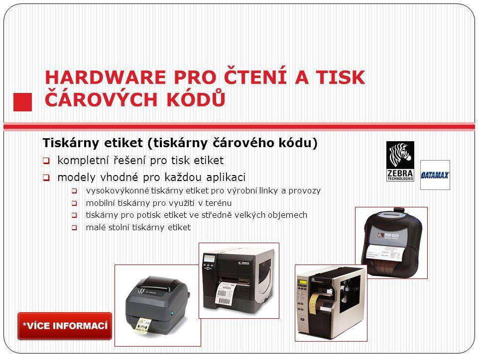 HARDWARE PRO ČTENÍ A TISK ČÁROVÝCH KÓDŮ Tiskárny etiket (tiskárny čárového kódu)  kompletní řešení pro tisk etiket  modely vhodné pro každou aplikaci  vysokovýkonné tiskárny etiket pro výrobní linky a provozy  mobilní tiskárny pro využití v terénu  tiskárny pro potisk etiket ve středně velkých objemech  malé stolní tiskárny etiket