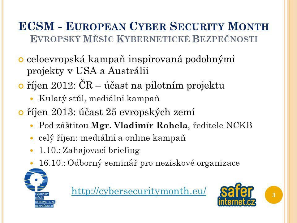 ECSM - E UROPEAN C YBER S ECURITY M ONTH E VROPSKÝ M ĚSÍC K YBERNETICKÉ B EZPEČNOSTI celoevropská kampaň inspirovaná podobnými projekty v USA a Austrá