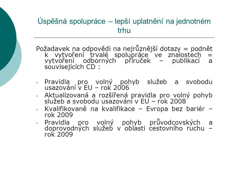 Úspěšná spolupráce – lepší uplatnění na jednotném trhu Požadavek na odpovědi na nejrůznější dotazy = podnět k vytvoření trvalé spolupráce ve znalostech = vytvoření odborných příruček – publikací a souvisejících CD : - Pravidla pro volný pohyb služeb a svobodu usazování v EU – rok 2006 - Aktualizovaná a rozšířená pravidla pro volný pohyb služeb a svobodu usazování v EU – rok 2008 - Kvalifikovaně na kvalifikace – Evropa bez bariér – rok 2009 - Pravidla pro volný pohyb průvodcovských a doprovodných služeb v oblasti cestovního ruchu – rok 2009