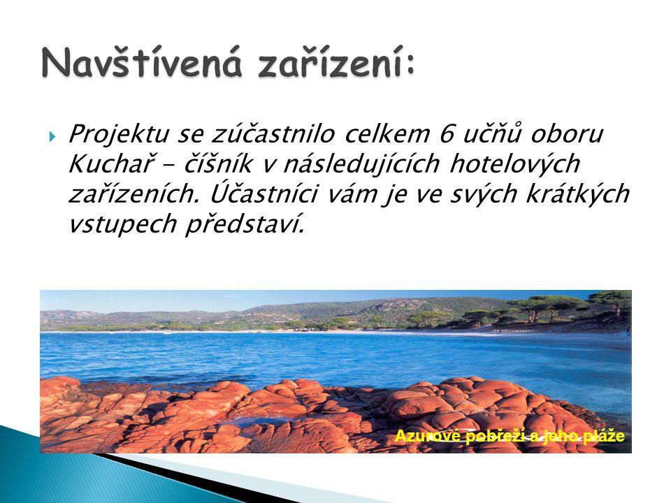  Projektu se zúčastnilo celkem 6 učňů oboru Kuchař - číšník v následujících hotelových zařízeních.