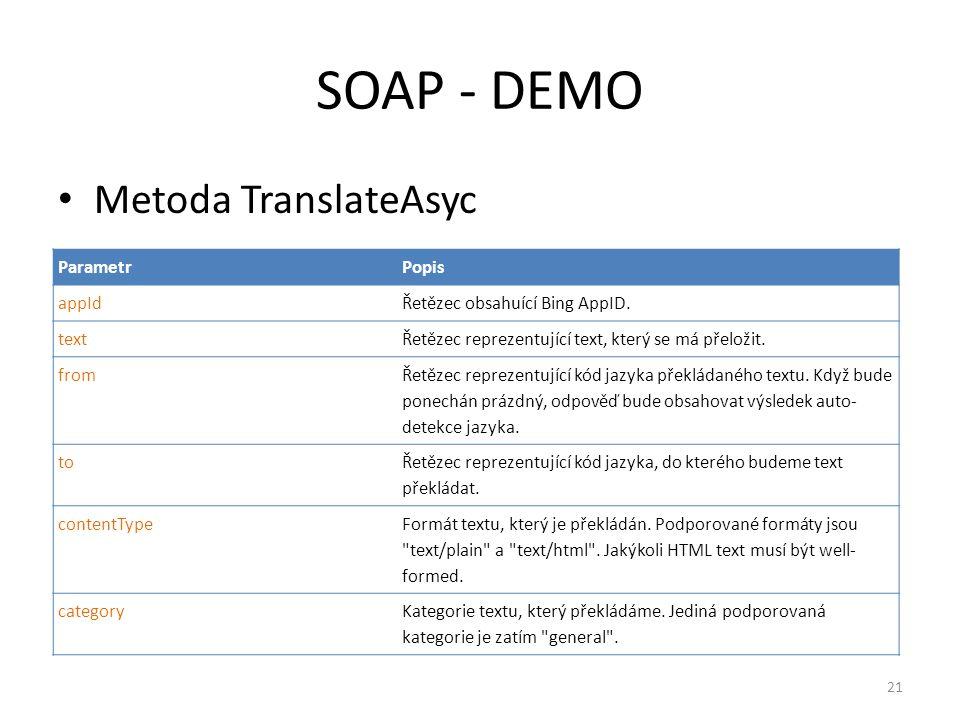 SOAP - DEMO • Metoda TranslateAsyc ParametrPopis appIdŘetězec obsahuící Bing AppID. textŘetězec reprezentující text, který se má přeložit. from Řetěze