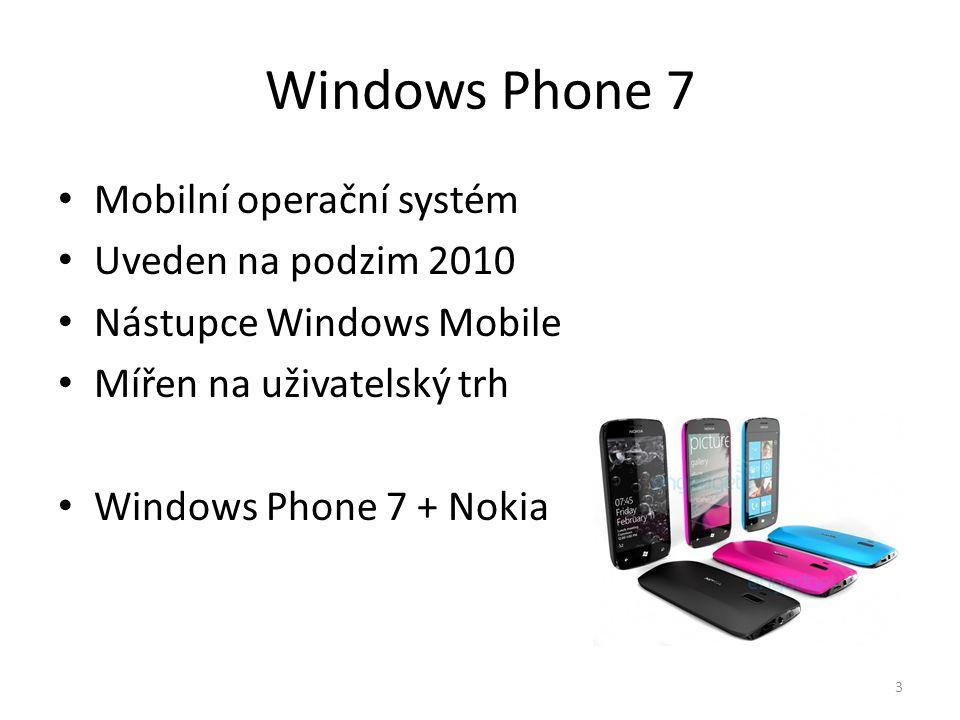Windows Phone 7 • Mobilní operační systém • Uveden na podzim 2010 • Nástupce Windows Mobile • Mířen na uživatelský trh • Windows Phone 7 + Nokia 3