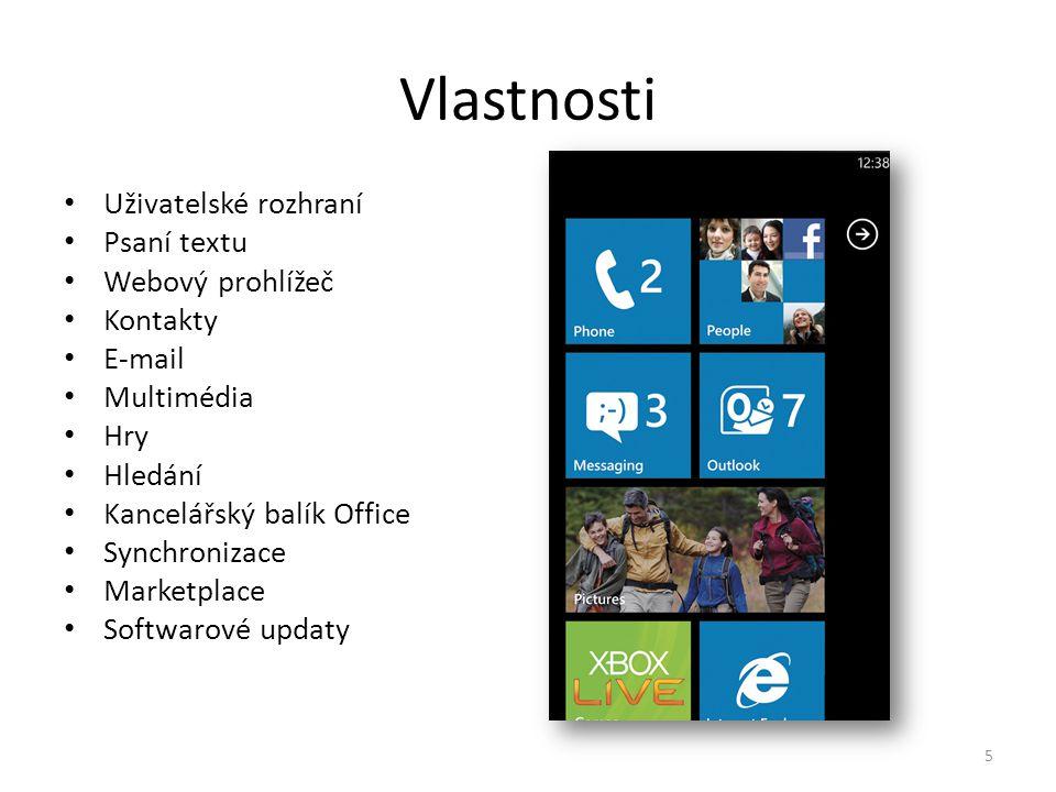 Vlastnosti • Uživatelské rozhraní • Psaní textu • Webový prohlížeč • Kontakty • E-mail • Multimédia • Hry • Hledání • Kancelářský balík Office • Synch