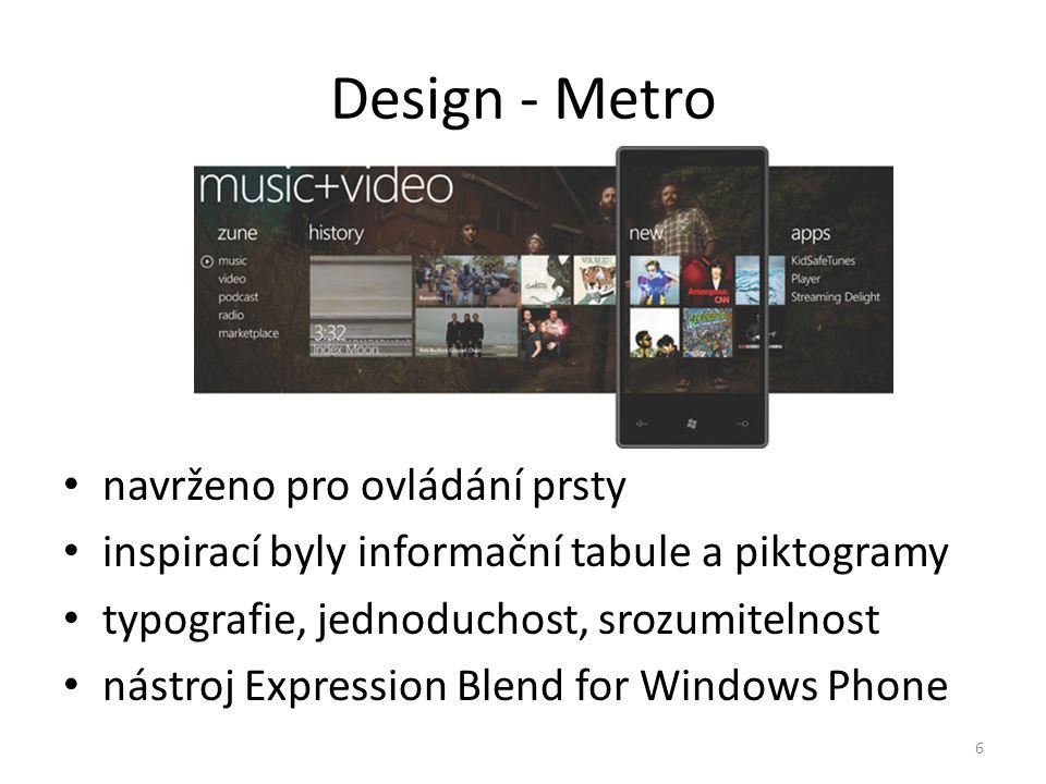 Design - Metro • navrženo pro ovládání prsty • inspirací byly informační tabule a piktogramy • typografie, jednoduchost, srozumitelnost • nástroj Expr