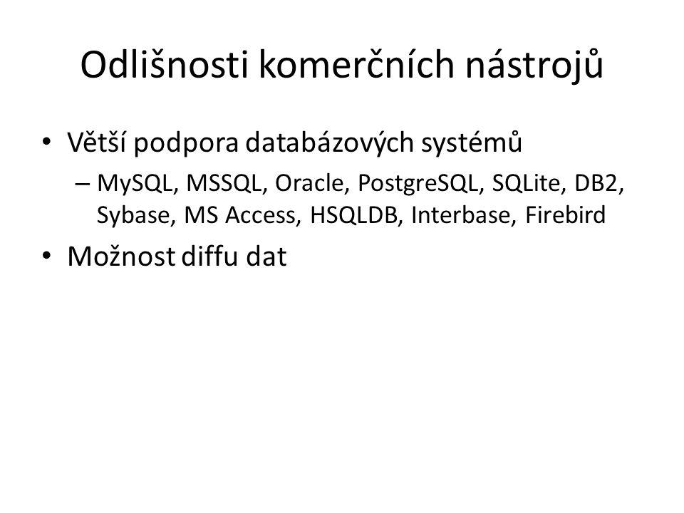 Odlišnosti komerčních nástrojů • Větší podpora databázových systémů – MySQL, MSSQL, Oracle, PostgreSQL, SQLite, DB2, Sybase, MS Access, HSQLDB, Interb