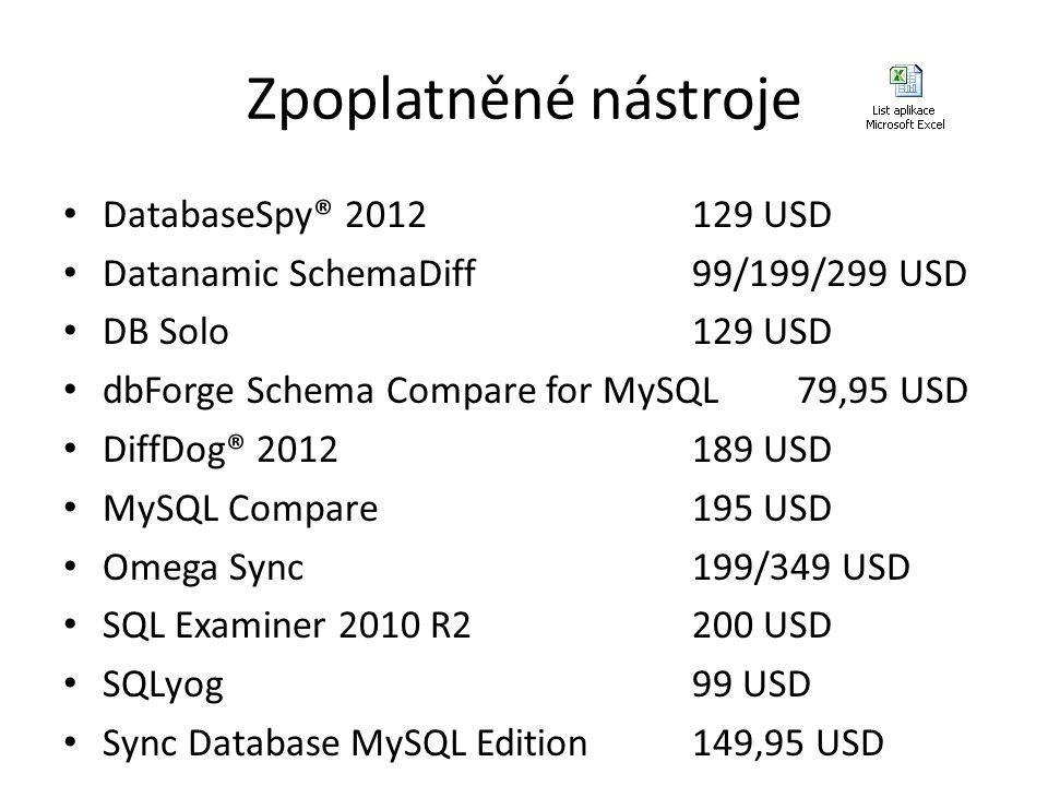 Zpoplatněné nástroje • DatabaseSpy® 2012129 USD • Datanamic SchemaDiff99/199/299 USD • DB Solo129 USD • dbForge Schema Compare for MySQL79,95 USD • Di