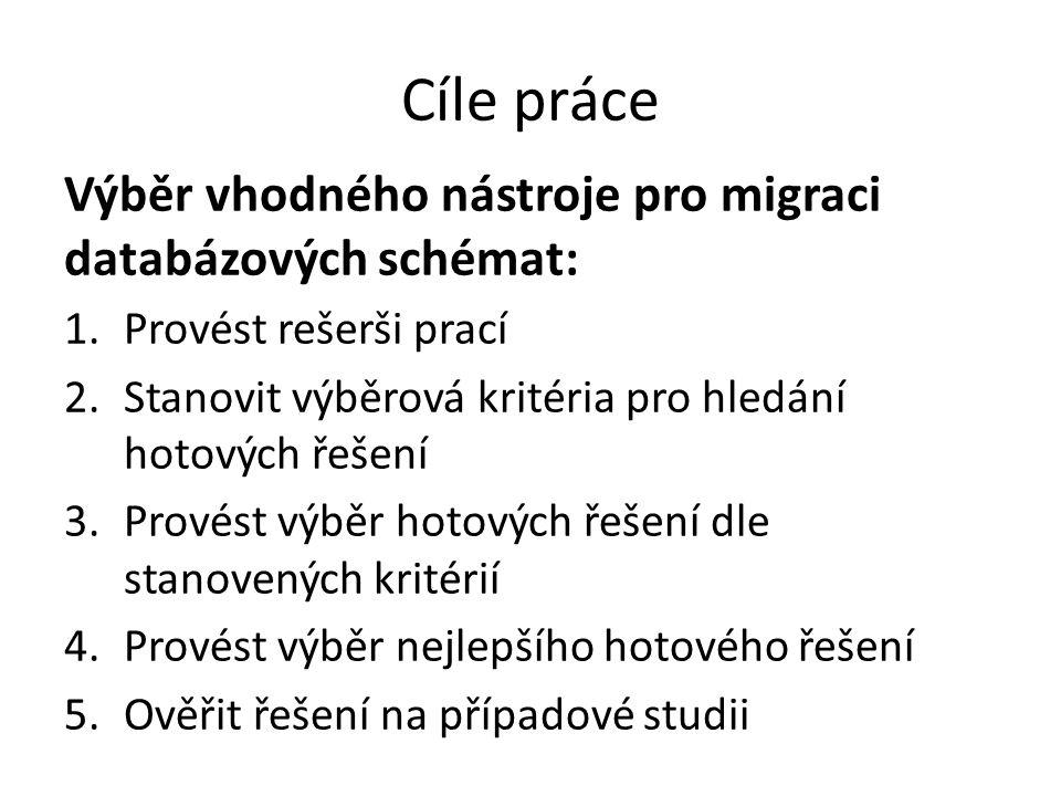 Cíle práce Výběr vhodného nástroje pro migraci databázových schémat: 1.Provést rešerši prací 2.Stanovit výběrová kritéria pro hledání hotových řešení