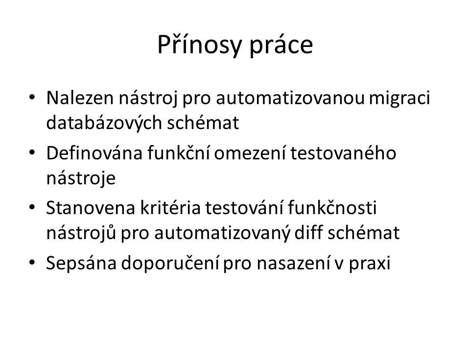 Děkuji za pozornost Obsah práce: 1.Úvod 2.Databázový deployment 3.Požadavky na nástroj 4.Stanovení hodnotících kritérií 5.Zhodnocení nástrojů 6.Doporučení postupu nasazení v praxi 7.Případová studie 8.Závěr