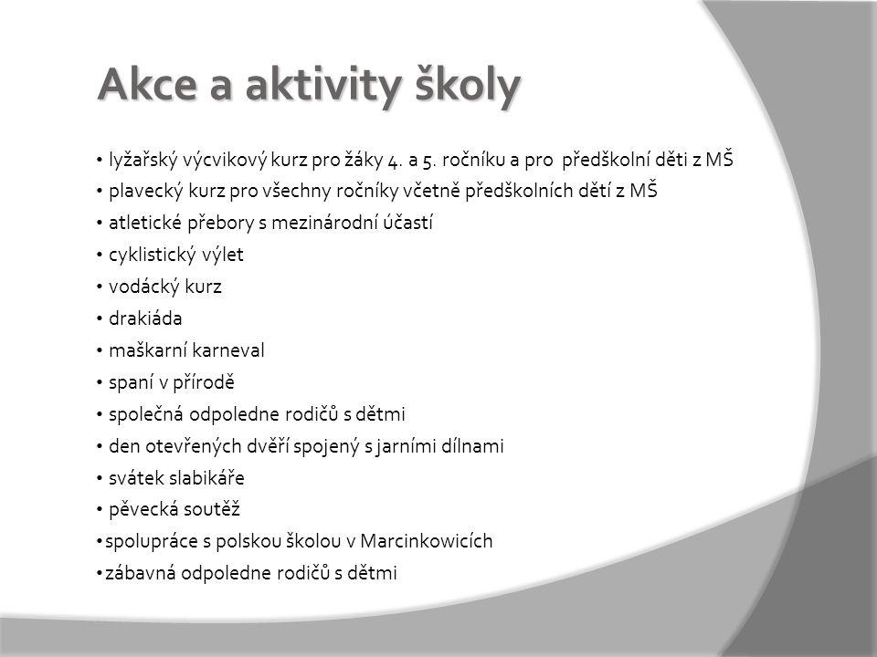 Akce a aktivity školy • lyžařský výcvikový kurz pro žáky 4.