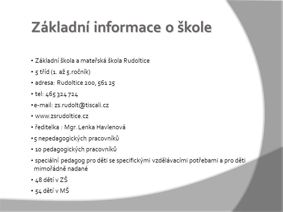 Základní informace o škole • Základní škola a mateřská škola Rudoltice • 5 tříd (1.