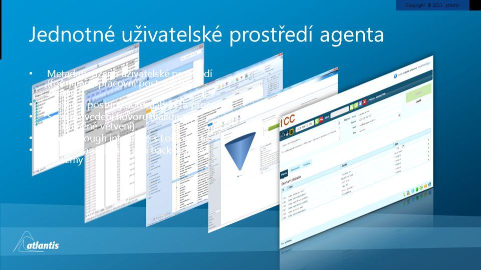 Copyright © 2011, atlantis Jednotné uživatelské prostředí agenta • Metadaty řízené uživatelské prostředí (formuláře, pracovní postupy, báze znalostí)