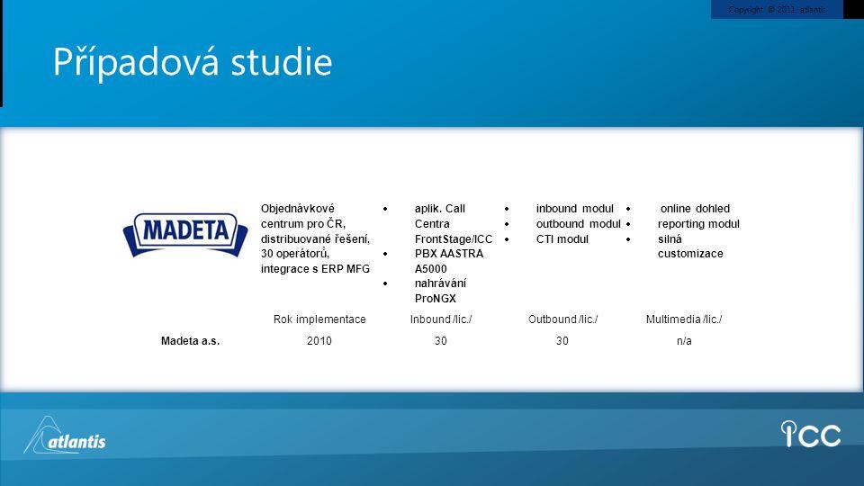 Copyright © 2011, atlantis Případová studie Madeta a.s. Objednávkové centrum pro ČR, distribuované řešení, 30 operátorů, integrace s ERP MFG  aplik.