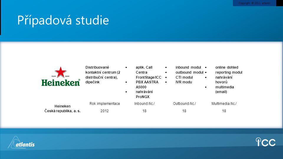 Copyright © 2011, atlantis Případová studie Heineken Česká republika, a. s. Distribuované kontaktní centrum (2 distribuční centra), dipečink  aplik.