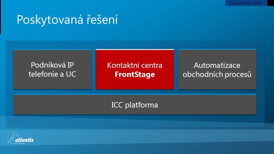 Copyright © 2011, atlantis Poskytovaná řešení ICC platforma Podniková IP telefonie a UC Kontaktní centra FrontStage Automatizace obchodních procesů