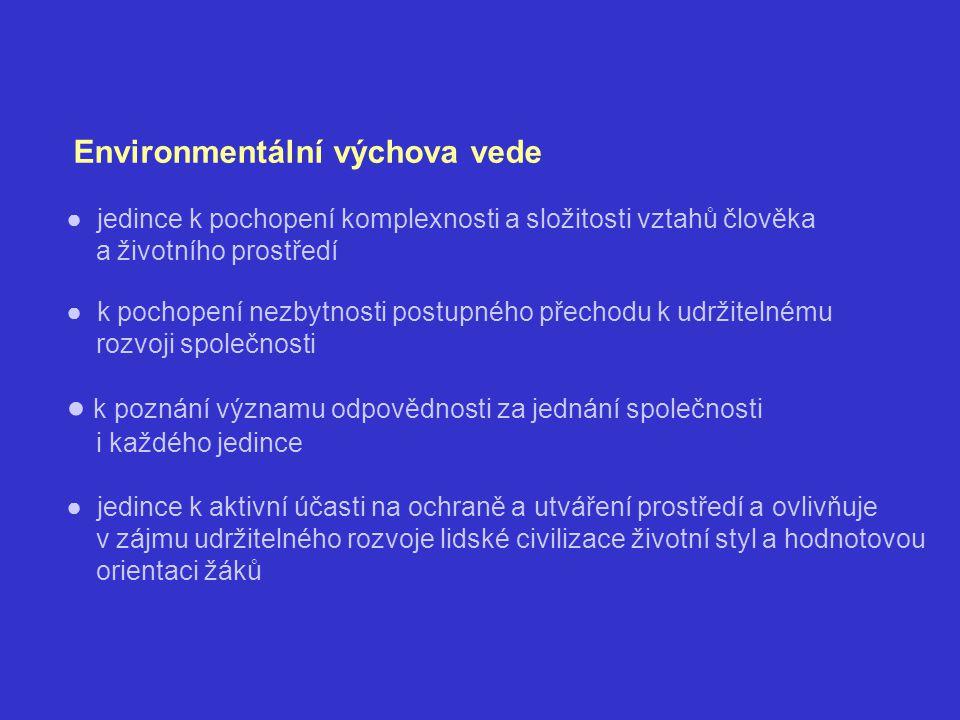 Environmentální výchova vede ● jedince k pochopení komplexnosti a složitosti vztahů člověka a životního prostředí ● k pochopení nezbytnosti postupného