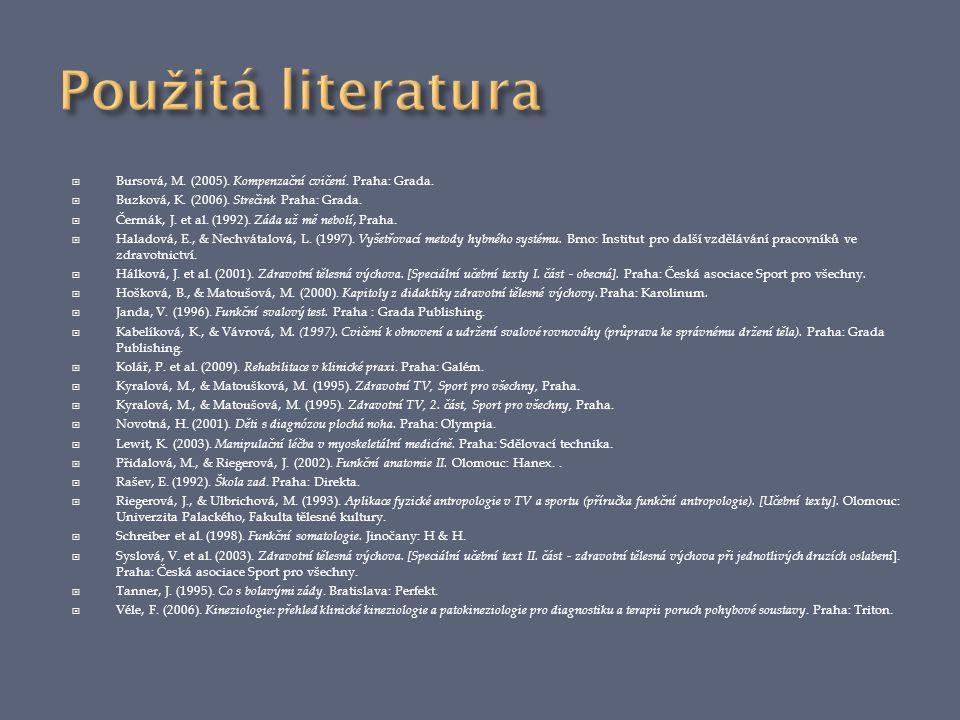  Bursová, M. (2005). Kompenzační cvičení. Praha: Grada.  Buzková, K. (2006). Strečink Praha: Grada.  Čermák, J. et al. (1992). Záda už mě nebolí, P