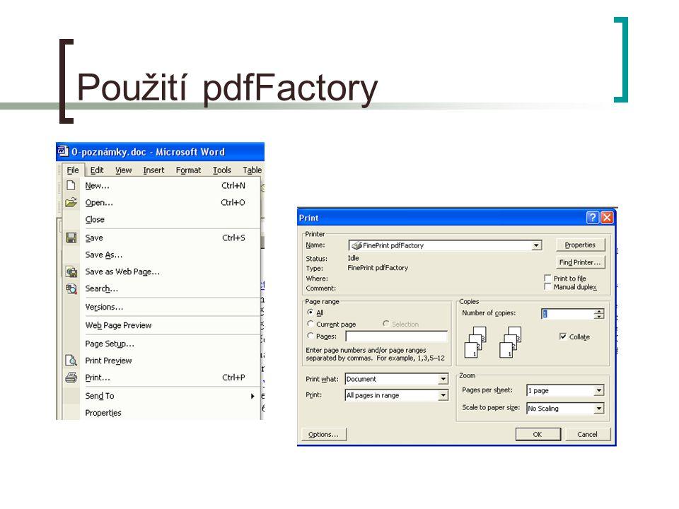 Použití pdfFactory