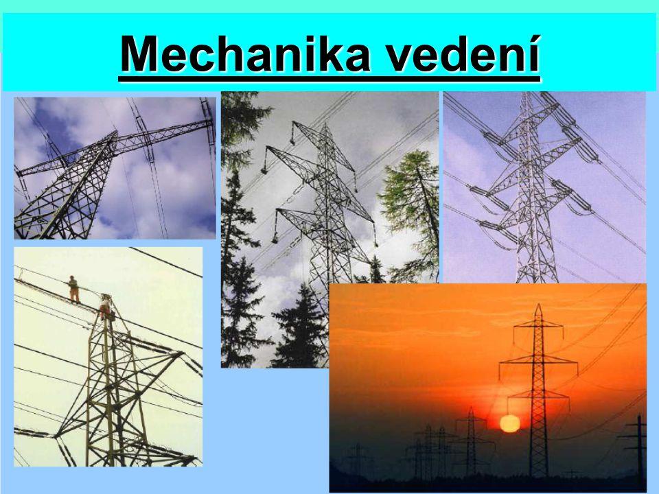 Základní pojmy Venkovní silové vedení-zařízení pro přenos elektrické energie – stožáry, konzoly, vodiče a příslušenství Námraza-námrazová vrstva na vodiči (ledovka, …) Námrazek-hmotnost námrazové vrstvy Pole-část vedení mezi dvěma sousedními podpěrami Rozpětí pole-vodorovná vzdálenost dvou závěsných bodů vodiče Průhyb vodiče (f)-vzdálenost mezi spojnicí dvou závěsných bodů vodiče a prohnutým vodičem Závěs vodiče-upevnění vodiče na izolátoru