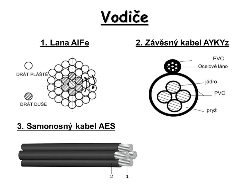Vodiče 1.Lana AlFe2.Závěsný kabel AYKYz 3.Samonosný kabel AES