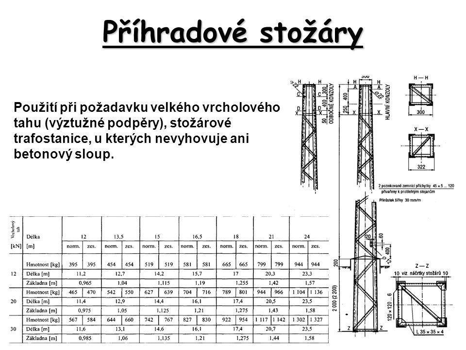 Příhradové stožáry Použití při požadavku velkého vrcholového tahu (výztužné podpěry), stožárové trafostanice, u kterých nevyhovuje ani betonový sloup.