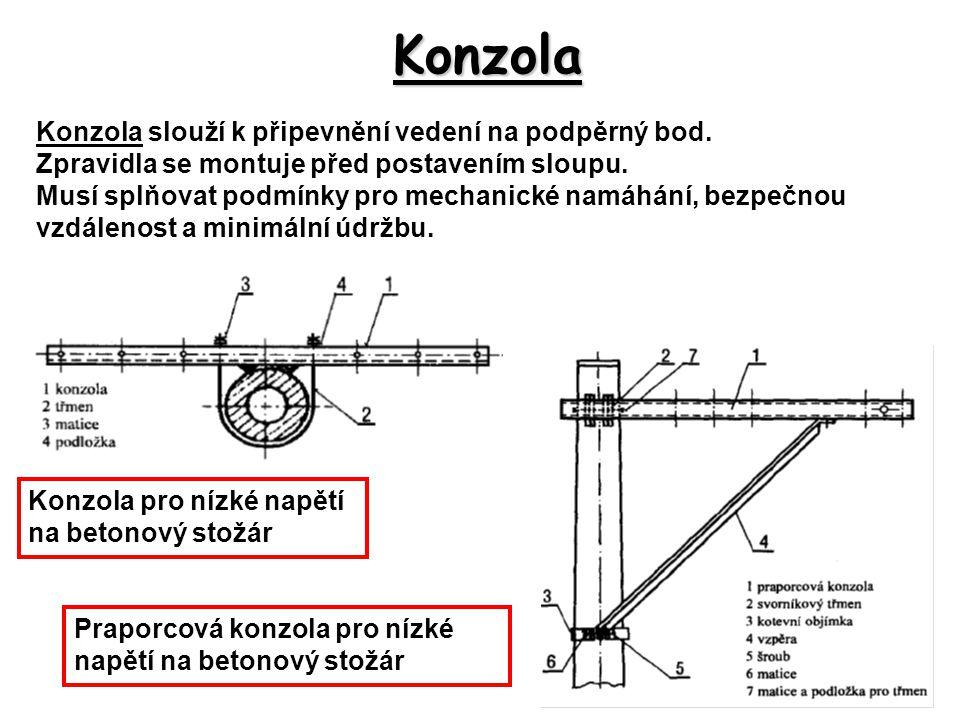 Konzola Konzola slouží k připevnění vedení na podpěrný bod. Zpravidla se montuje před postavením sloupu. Musí splňovat podmínky pro mechanické namáhán