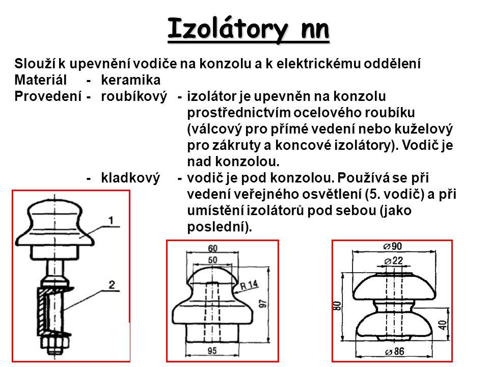 Izolátory nn Slouží k upevnění vodiče na konzolu a k elektrickému oddělení Materiál-keramika Provedení-roubíkový-izolátor je upevněn na konzolu prostř