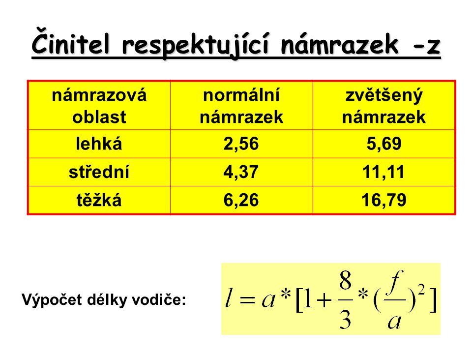 Činitel respektující námrazek -z Výpočet délky vodiče: námrazová oblast normální námrazek zvětšený námrazek lehká2,565,69 střední4,3711,11 těžká6,2616