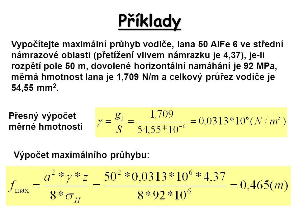 Příklady Vypočítejte maximální průhyb vodiče, lana 50 AlFe 6 ve střední námrazové oblasti (přetížení vlivem námrazku je 4,37), je-li rozpětí pole 50 m