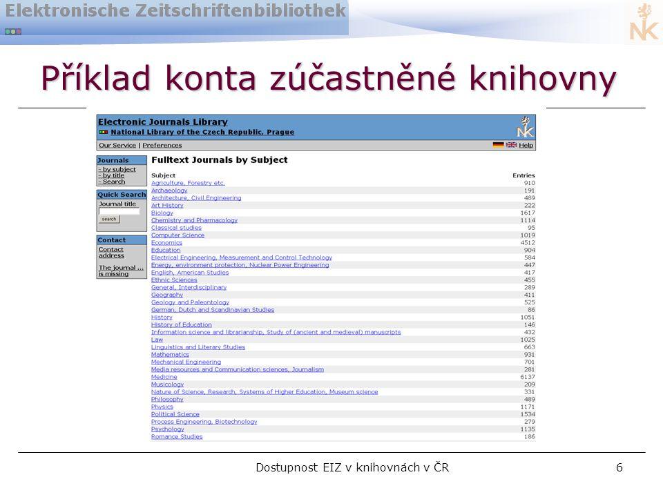 Dostupnost EIZ v knihovnách v ČR6 Příklad konta zúčastněné knihovny