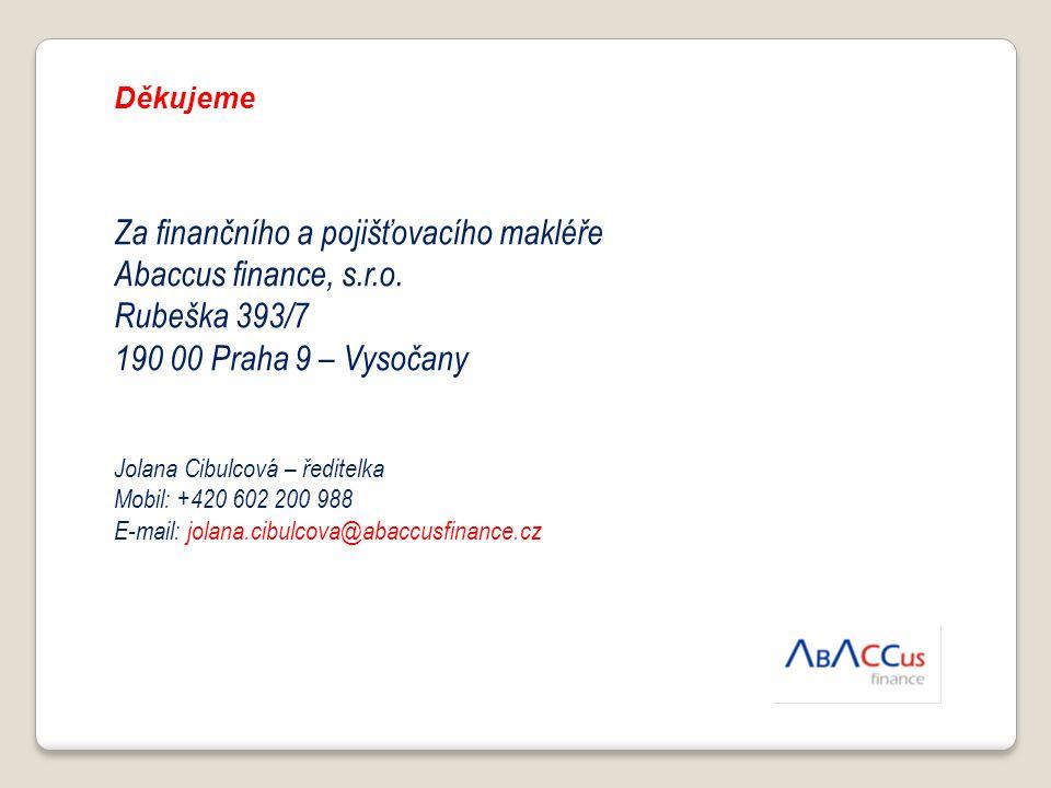 Děkujeme Za finančního a pojišťovacího makléře Abaccus finance, s.r.o. Rubeška 393/7 190 00 Praha 9 – Vysočany Jolana Cibulcová – ředitelka Mobil: +42
