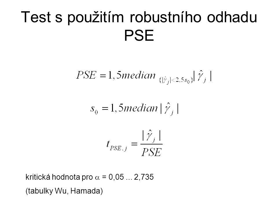 Test s použitím robustního odhadu PSE kritická hodnota pro  = 0,05... 2,735 (tabulky Wu, Hamada)