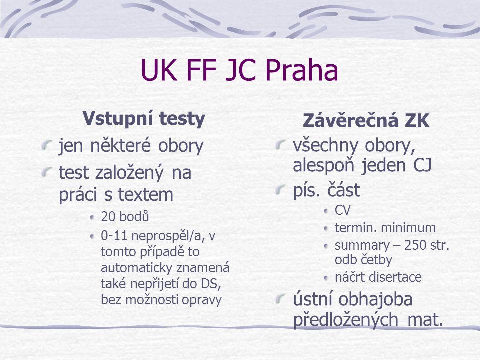 UK FF JC Praha Vstupní testy jen některé obory test založený na práci s textem 20 bodů 0-11 neprospěl/a, v tomto případě to automaticky znamená také n