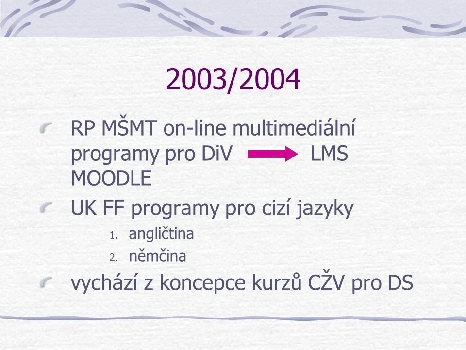 2003/2004 RP MŠMT on-line multimediální programy pro DiV LMS MOODLE UK FF programy pro cizí jazyky 1. angličtina 2. němčina vychází z koncepce kurzů C