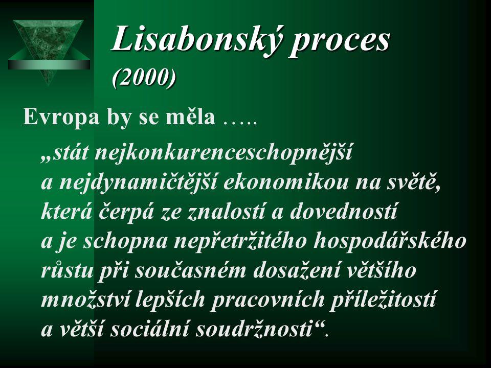 """Lisabonský proces (2000) Evropa by se měla ….. """"stát nejkonkurenceschopnější a nejdynamičtější ekonomikou na světě, která čerpá ze znalostí a dovednos"""
