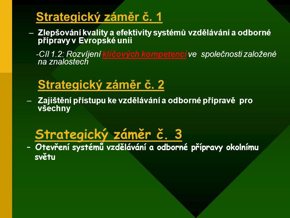 Strategický záměr č. 1 – Zlepšování kvality a efektivity systémů vzdělávání a odborné přípravy v Evropské unii -Cíl 1.2: Rozvíjení klíčových kompetenc