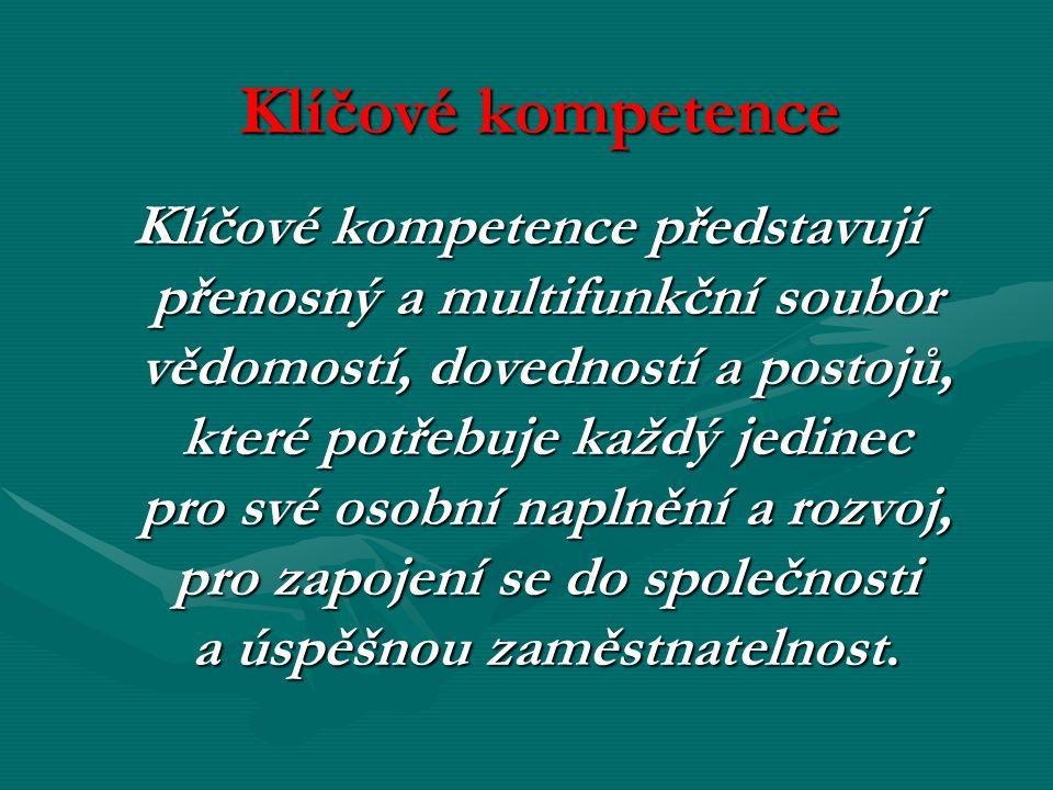Klíčové kompetence Klíčové kompetence představují přenosný a multifunkční soubor vědomostí, dovedností a postojů, které potřebuje každý jedinec pro sv