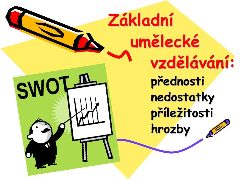 Základní Základní umělecké umělecké vzdělávání: vzdělávání: přednosti přednosti nedostatky nedostatky příležitosti příležitosti hrozby hrozby