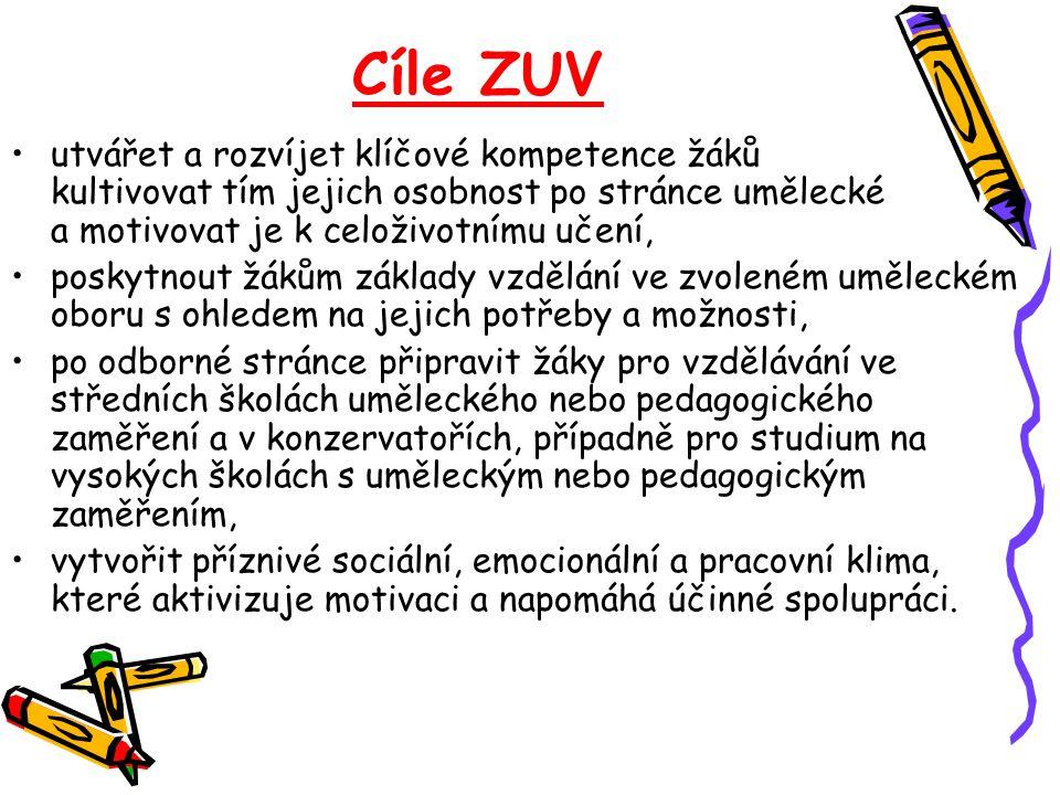 Cíle ZUV •utvářet a rozvíjet klíčové kompetence žáků kultivovat tím jejich osobnost po stránce umělecké a motivovat je k celoživotnímu učení, •poskytn