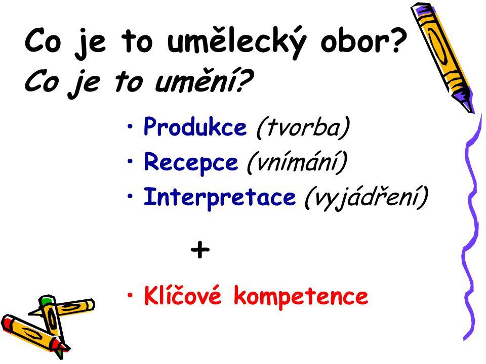 Co je to umělecký obor? •P•Produkce (tvorba) •R•Recepce (vnímání) •I•Interpretace (vyjádření) + •K•Klíčové kompetence Co je to umění?