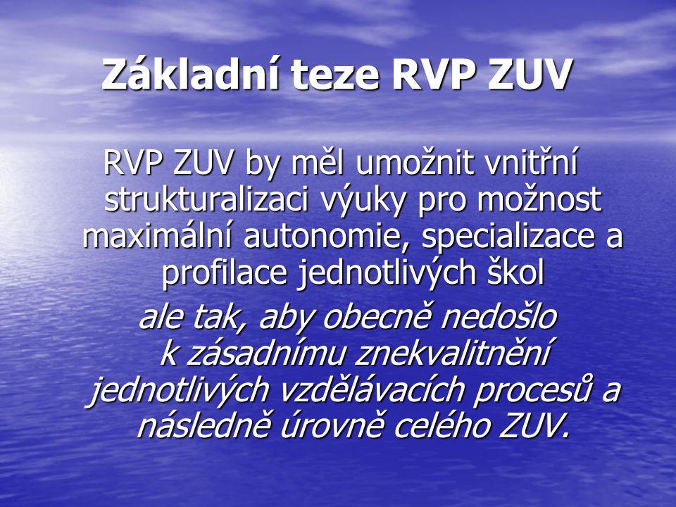 Základní teze RVP ZUV Základní teze RVP ZUV RVP ZUV by měl umožnit vnitřní strukturalizaci výuky pro možnost maximální autonomie, specializace a profi