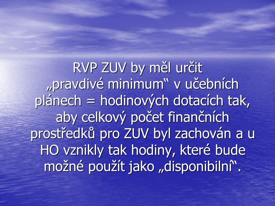 """RVP ZUV by měl určit """"pravdivé minimum"""" v učebních plánech = hodinových dotacích tak, aby celkový počet finančních prostředků pro ZUV byl zachován a u"""