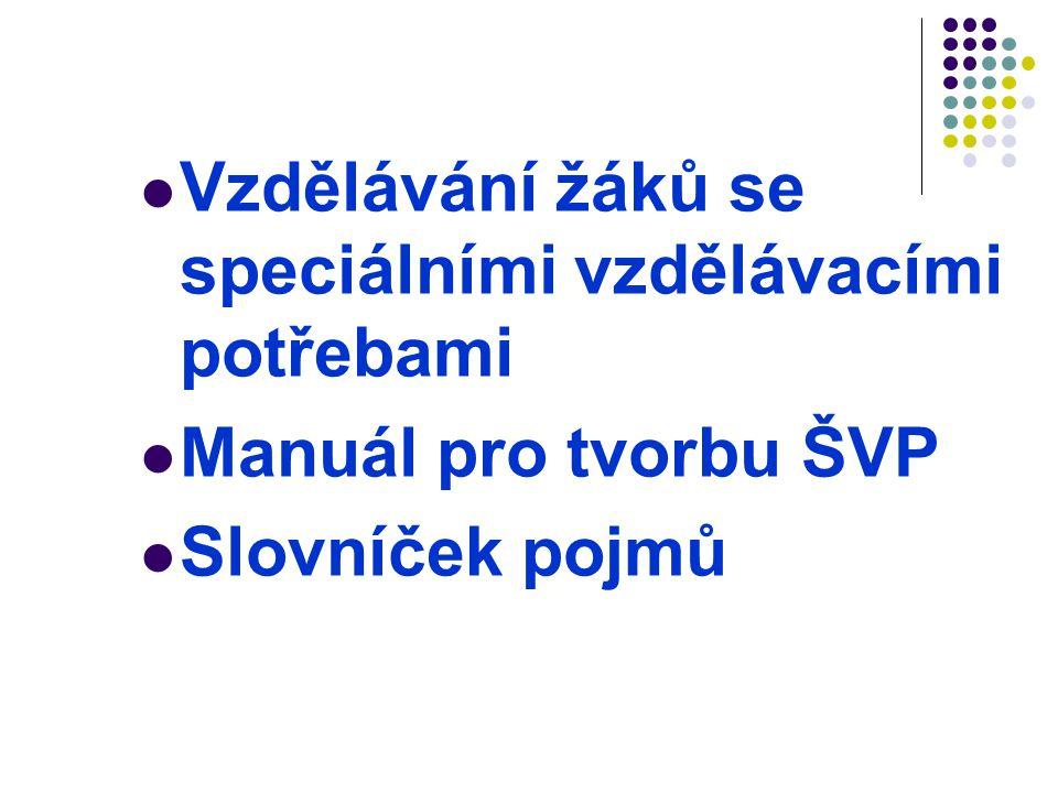  Vzdělávání žáků se speciálními vzdělávacími potřebami  Manuál pro tvorbu ŠVP  Slovníček pojmů