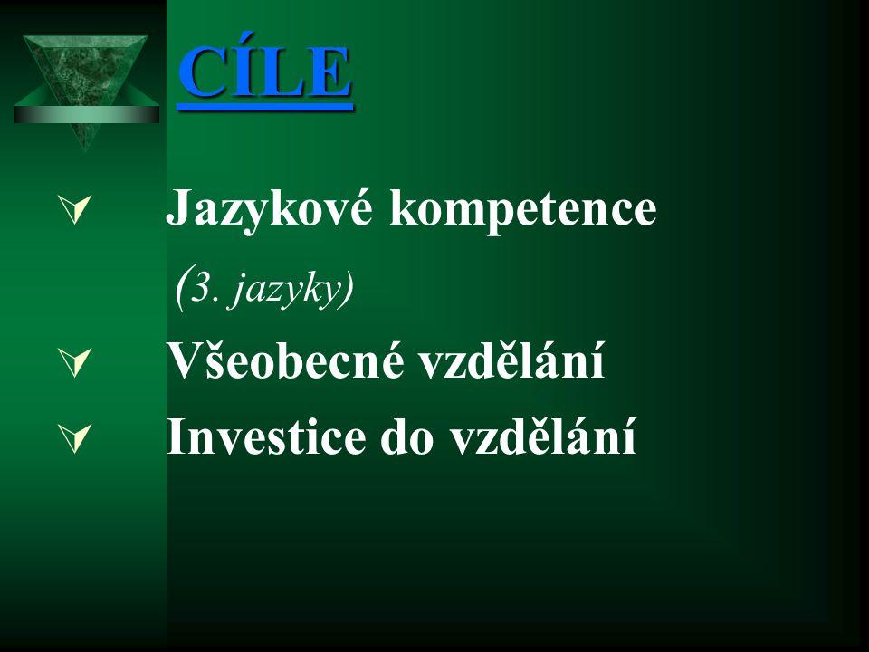 CÍLE  Jazykové kompetence ( 3. jazyky)  Všeobecné vzdělání  Investice do vzdělání