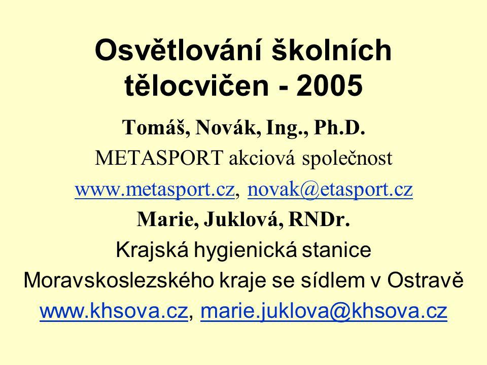 Osvětlování školních tělocvičen - 2005 Tomáš, Novák, Ing., Ph.D. METASPORT akciová společnost www.metasport.czwww.metasport.cz, novak@etasport.cznovak