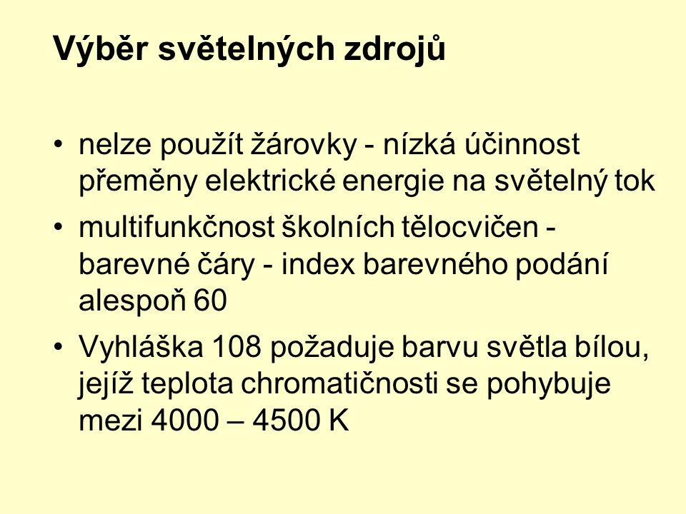 Výběr světelných zdrojů •nelze použít žárovky - nízká účinnost přeměny elektrické energie na světelný tok •multifunkčnost školních tělocvičen - barevn