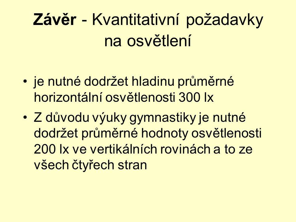 Závěr - Kvantitativní požadavky na osvětlení •je nutné dodržet hladinu průměrné horizontální osvětlenosti 300 lx •Z důvodu výuky gymnastiky je nutné d
