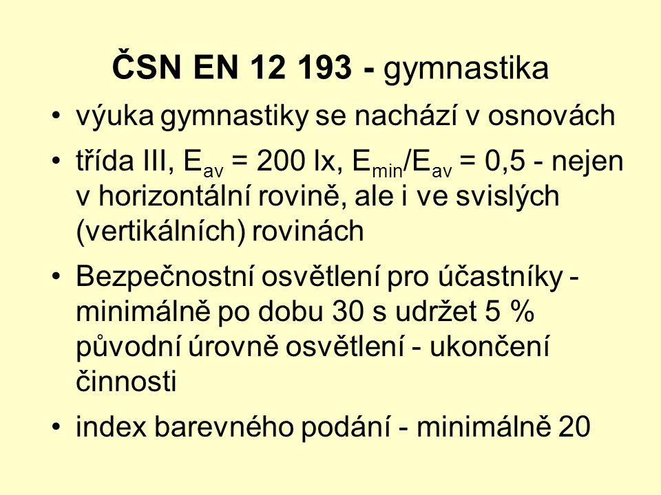 ČSN EN 12 193 - gymnastika •výuka gymnastiky se nachází v osnovách •třída III, E av = 200 lx, E min /E av = 0,5 - nejen v horizontální rovině, ale i v