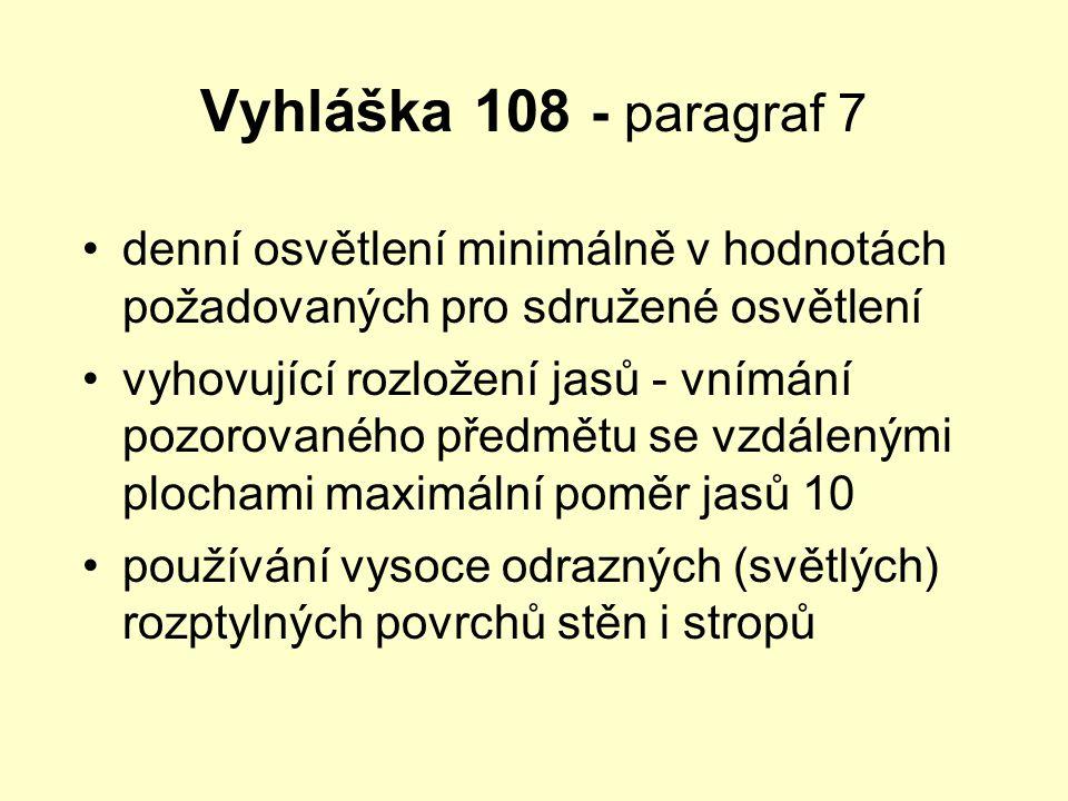 Vyhláška 108 - paragraf 7 •denní osvětlení minimálně v hodnotách požadovaných pro sdružené osvětlení •vyhovující rozložení jasů - vnímání pozorovaného