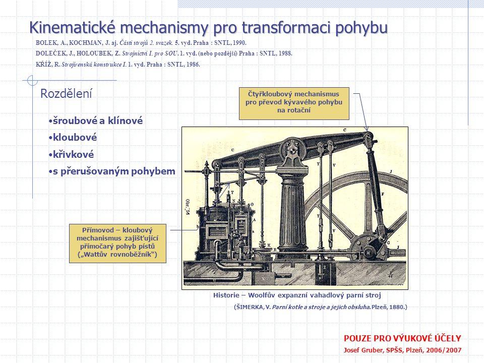 Kinematické mechanismy pro transformaci pohybu POUZE PRO VÝUKOVÉ ÚČELY Josef Gruber, SPŠS, Plzeň, 2006/2007 BOLEK, A., KOCHMAN, J. aj. Části strojů 2.