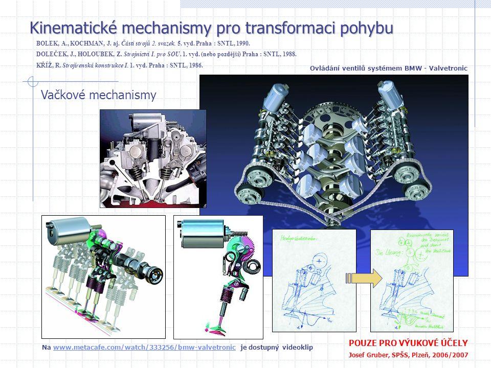 Kinematické mechanismy pro transformaci pohybu POUZE PRO VÝUKOVÉ ÚČELY Josef Gruber, SPŠS, Plzeň, 2006/2007 Vačkové mechanismy Vačkové hřídele spalova